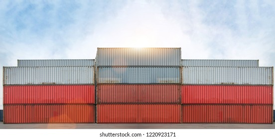 container and crane lift up container loading to container depot use for cargo import export, logistics industry background.