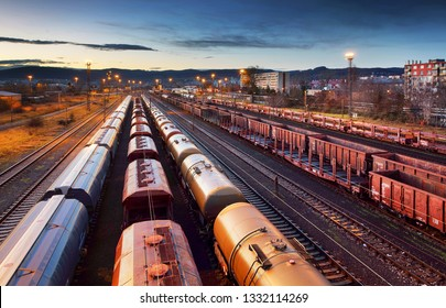Container Freight Train in Station, Cargo railway transportation industry
