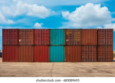 Container handling and storage in shipyard.
