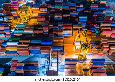 The container handling. Working at night.