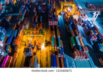 The container handling. Working at the night.
