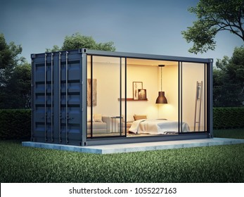Container house exterior, 3D render