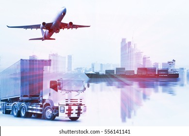 container  import,export  use for freight and cargo shipping vessel transport,container truck , freight cargo plane in transport and import-export commercial logistic ,shipping business industry