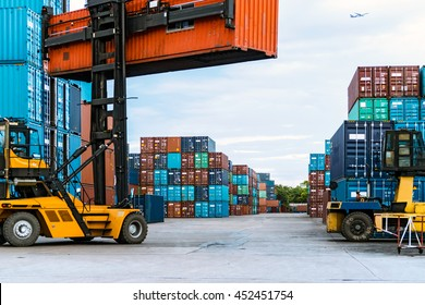 The Container lift truck in the Container port nearby The International Airport ,Bangkok ,Thailand