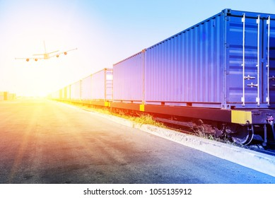 Container loaded on train wagons on railway