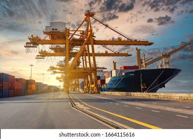 Container loading in a cargo freight ship with crane to shore lift up loading during cargo operation in sunrise time import and export  logistic and transportation concept.