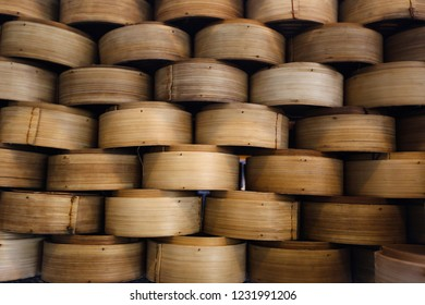 Container made of bamboo stacked.
