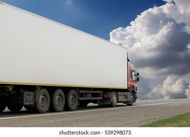 Container on the big highway. transport loads