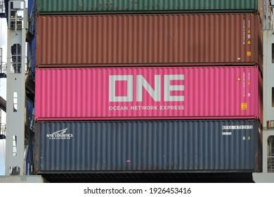 The container on the ship. Paranaguá, Paraná, Brasil 09.09.2018