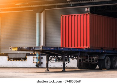 container on the truck in cargo, Transportation and shipping background. rim light added