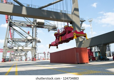 Container operation in the port.