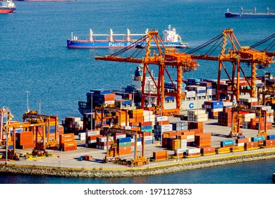 Container port terminal in Vancouver, Canada,March 2016,Cargo shipping containers,
