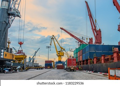 container port terminal working busy in operation of loading and discharging shipment being for transports sea and land in system of logistics services to international worldwide