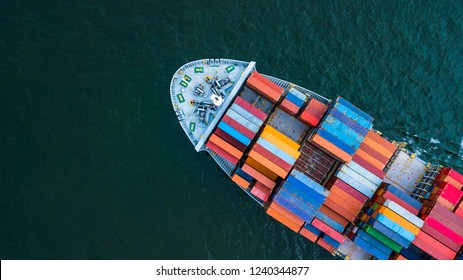 Container ship aerial top view close up, Global business logistic freight shipping import export international by container ship vessel in the open sea, Container cargo industrial freight shipment. - Shutterstock ID 1240344877