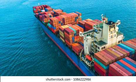 Container ship, Aerial view business logistic and transportation of International by container ship in the open sea.
