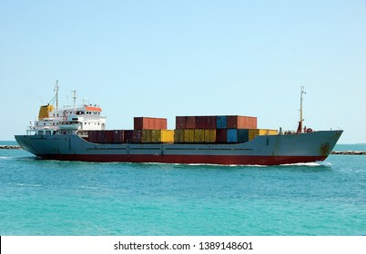 Container ship approaching the Port of Miami,Florida