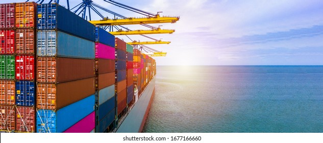 Container ship carrying container box in import export with quay crane, Global business cargo freight shipping commercial trade logistic and transportation oversea worldwide by container vessel. - Shutterstock ID 1677166660