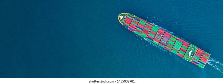 Container ship carrying container for import and export, business logistic and transportation by ship in open sea, Aerial view container ship with copy space.