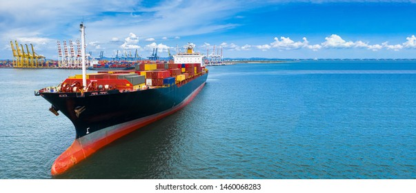 Container ship carrying container in import export global business logistic and transportation international by container ship freight shipping company worldwide in the open sea, Copy space banner web