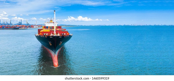 Container ship carrying container in import and export global business commercial logistic and freight shipping transportation by container ship, Container loading cargo ship vessel with copy space. - Shutterstock ID 1460599319