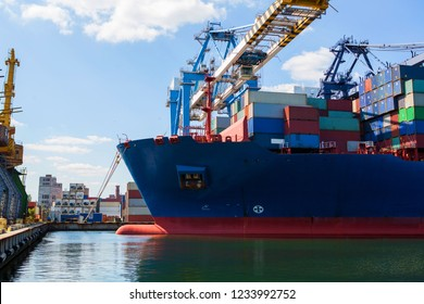container ship close - up. Part of large merchant ship