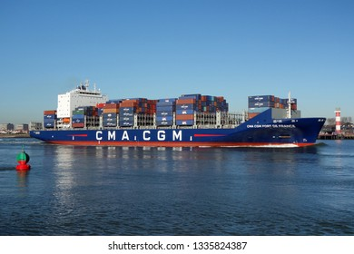 The container ship CMA CGM Fort de France will reach the port of Rotterdam on 15 February 2019.