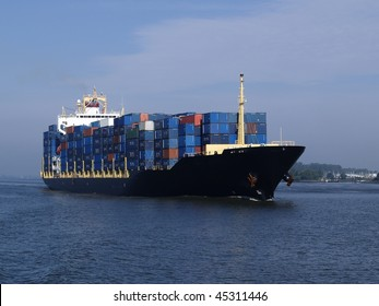 Container ship coming into port.