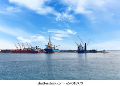 Container ship in a dock at port