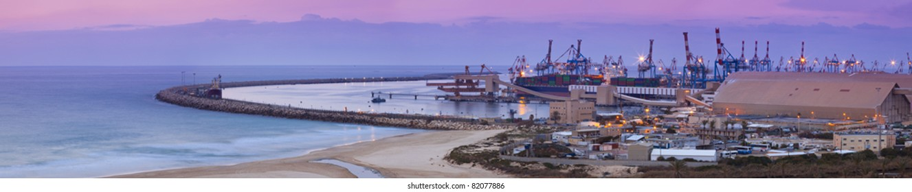Container ship docked at a harbor terminal - Container ship in Ashdod port