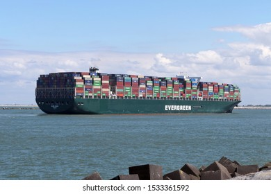 The container ship Ever Given reaches the port of Rotterdam on 3 July 2019.
