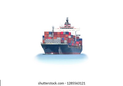 Container ship and front view, isolated on white background.