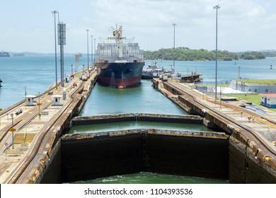 Container ship in Gatun lock.