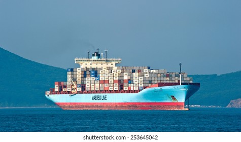 Container ship Gunvor Maersk at anchor in the roads. Nakhodka Bay. East (Japan) Sea. 01.08.2014