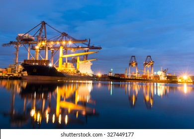 Container ship in the harbor of LeamChabang, night shot. Cloudy sky.