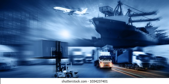 Container ship in import export and business logistic. Trade Port. Shipping, cargo to harbor and Cargo plane with working crane bridge in shipyard at sunrise, logistic import export concept