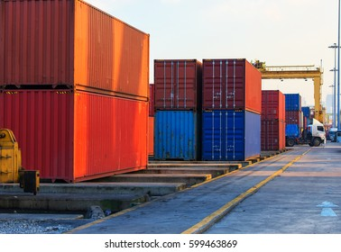container ship in import export and business logistic.By crane ,Trade Port , Shipping, cargo to harbor
