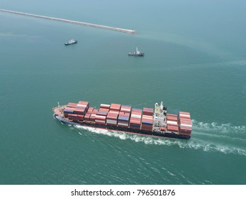 container ship in import export and business logistic.Trade Port , Shipping.cargo to harbor.Aerial view.Water transport.International.