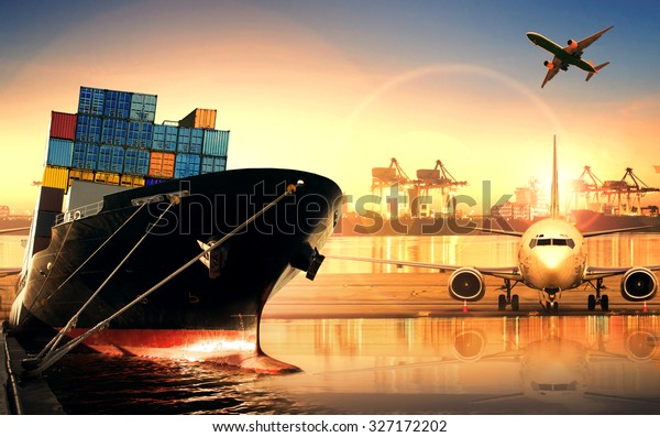 container ship in import export port and use for freight cargo ,logistic business theme