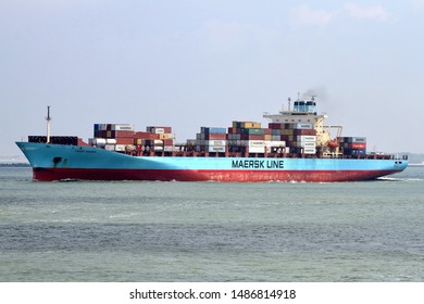 The container ship Laust Maersk leaves the port of Rotterdam on 22 May 2019.