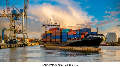 Container ship leaving from the port