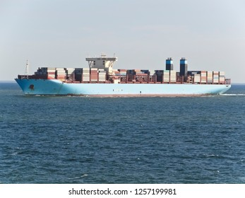 Container Ship Loaded with Boxes at Sea
