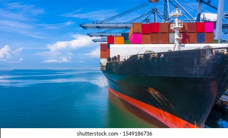 Container ship  loading in a port, Aerial top view container ship in business import export transportation logistic.