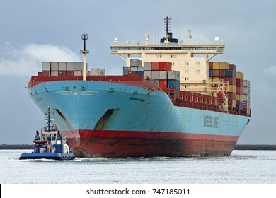 The container ship Maersk Kure arrives on September 22, 2017 in the port of Rotterdam.