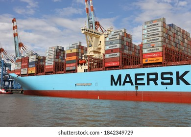 The container ship Mette Maersk will dock in the port of Bremerhaven on August 24, 2020.