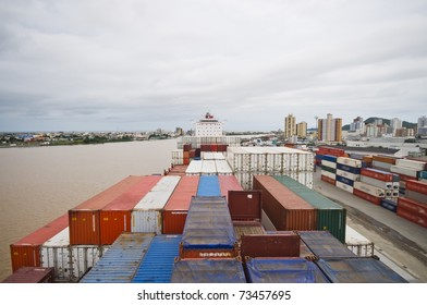 container ship moored in port, Brazil, Port of Itajai