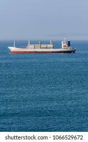 Container ship moored in Valparaiso bay, Chile