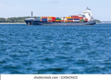 Container ship near Kiel, Germany