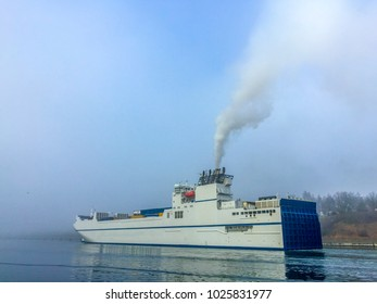 Container ship on Kiel Canal, Germany