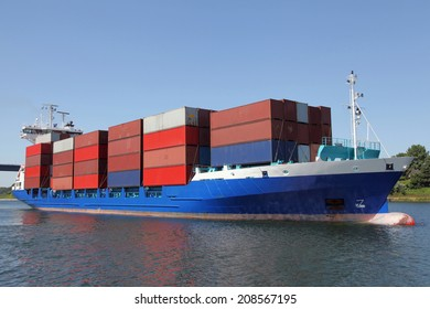 container ship on Kiel Canal