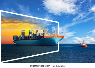 Container ship on sea of sunrise and day - shipping concept.